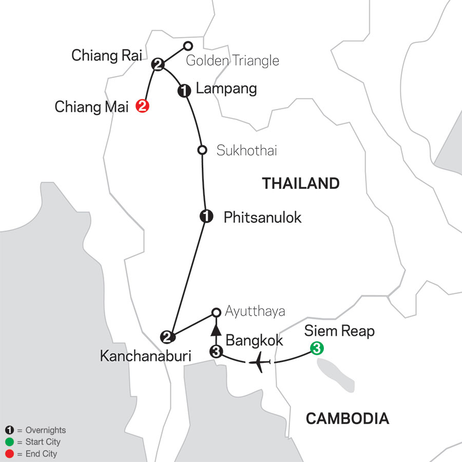 Thailand Experience with Siem Reap map