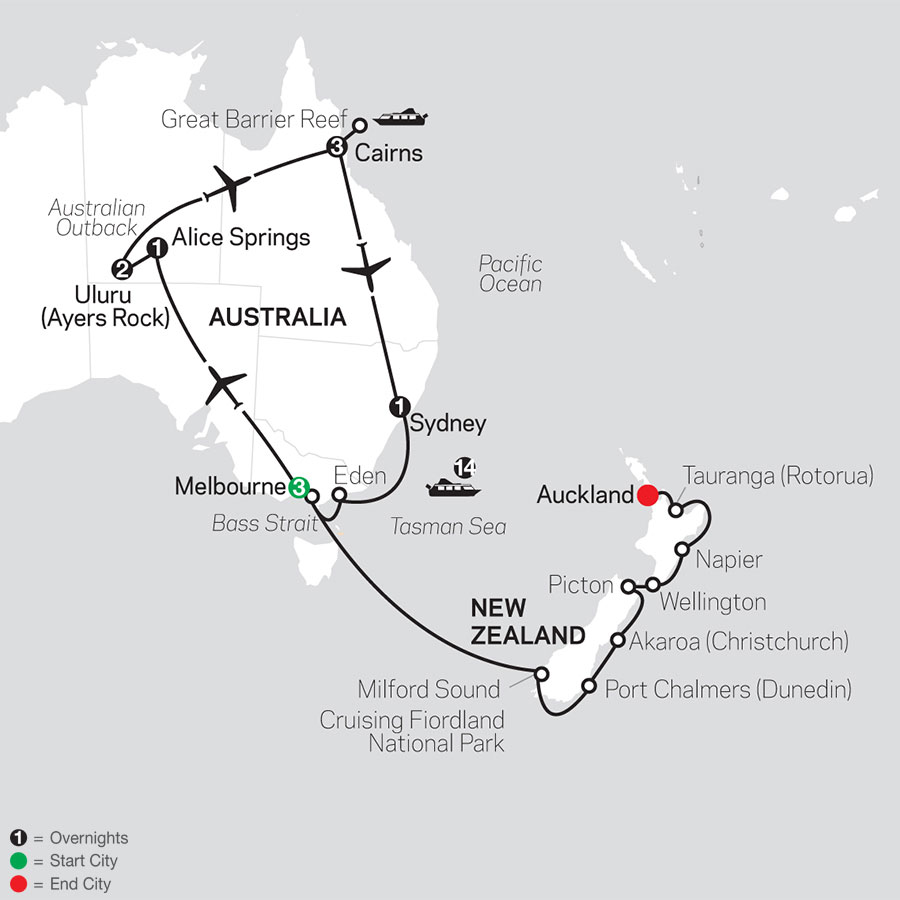 Highlights of Australia with New Zealand Cruise on February 2, 2021 map
