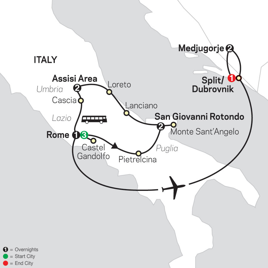 Spiritual Highlights of Italy with Medjugorje - Faith-Based Travel map
