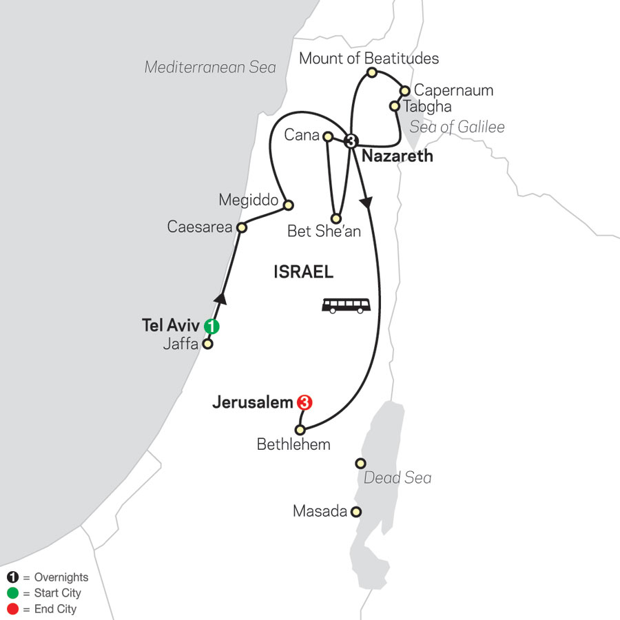 Holy Land Discovery - Faith-Based Travel - Catholic Itinerary map