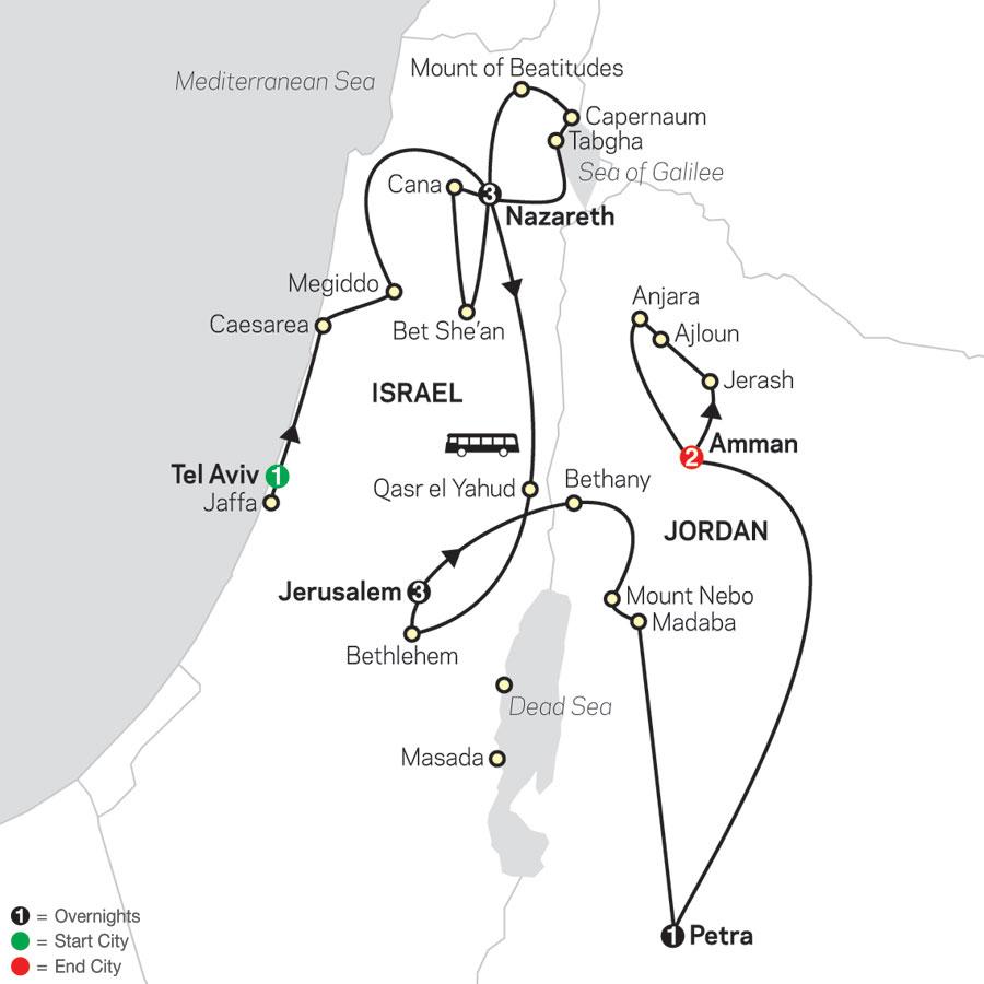 Holy Land Discovery with Jordan - Faith-Based Travel -  Catholic Itinerary map