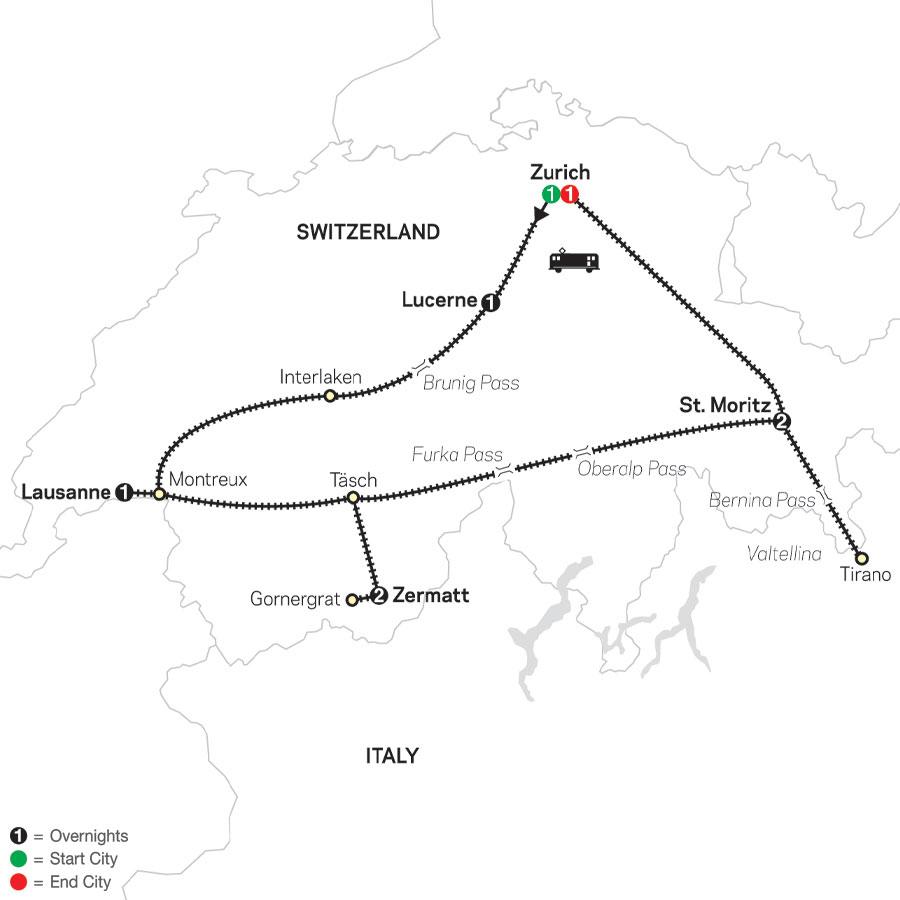 Scenic Switzerland by Train map