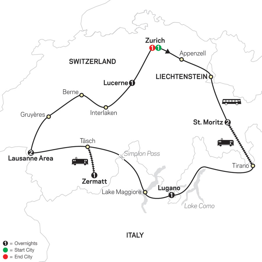 Grand Tour of Switzerland map