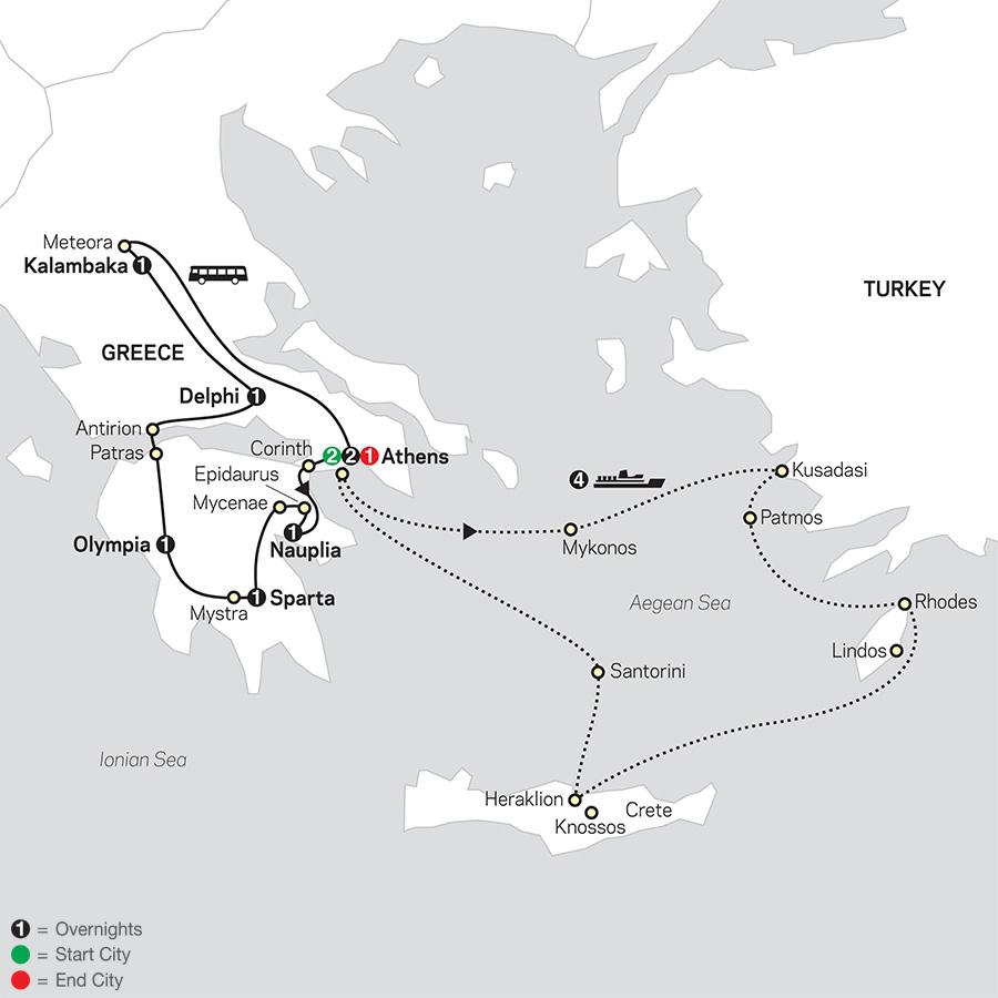 Greece & Aegean Islands Cruise map