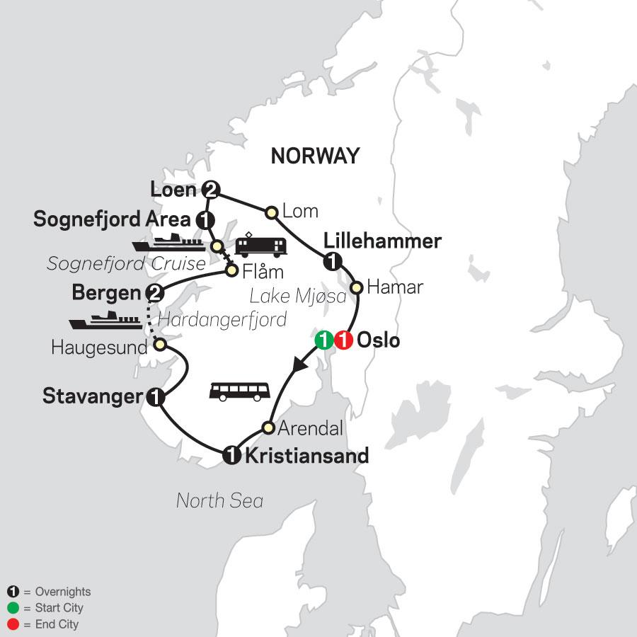 Norwegian Fjords map