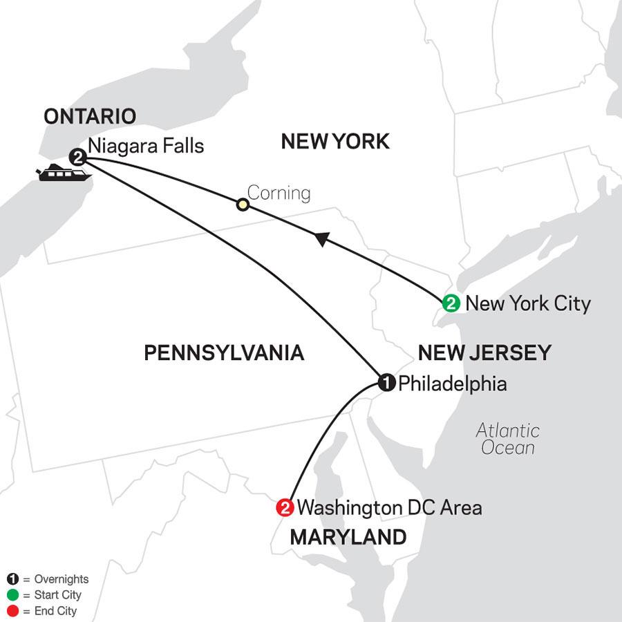 New York, Niagara Falls & Washington DC map