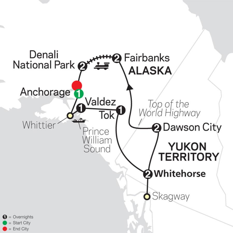 Alaska & the Yukon map