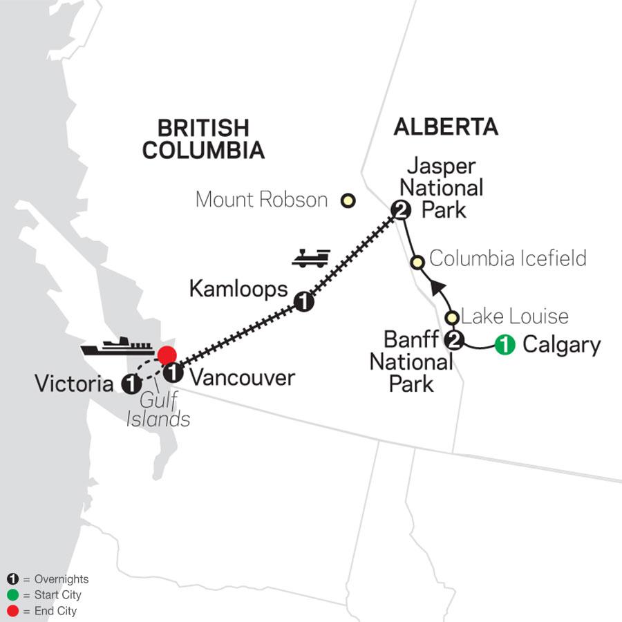 Western Canada by Rail map