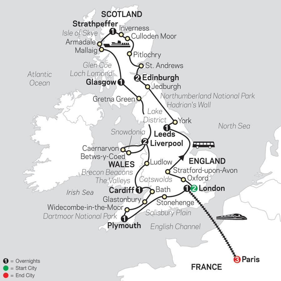 England, Scotland & Wales with Paris map