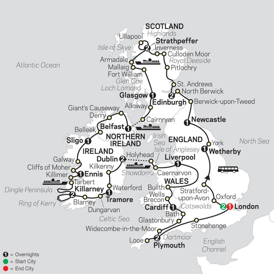 The British Isles in Depth map