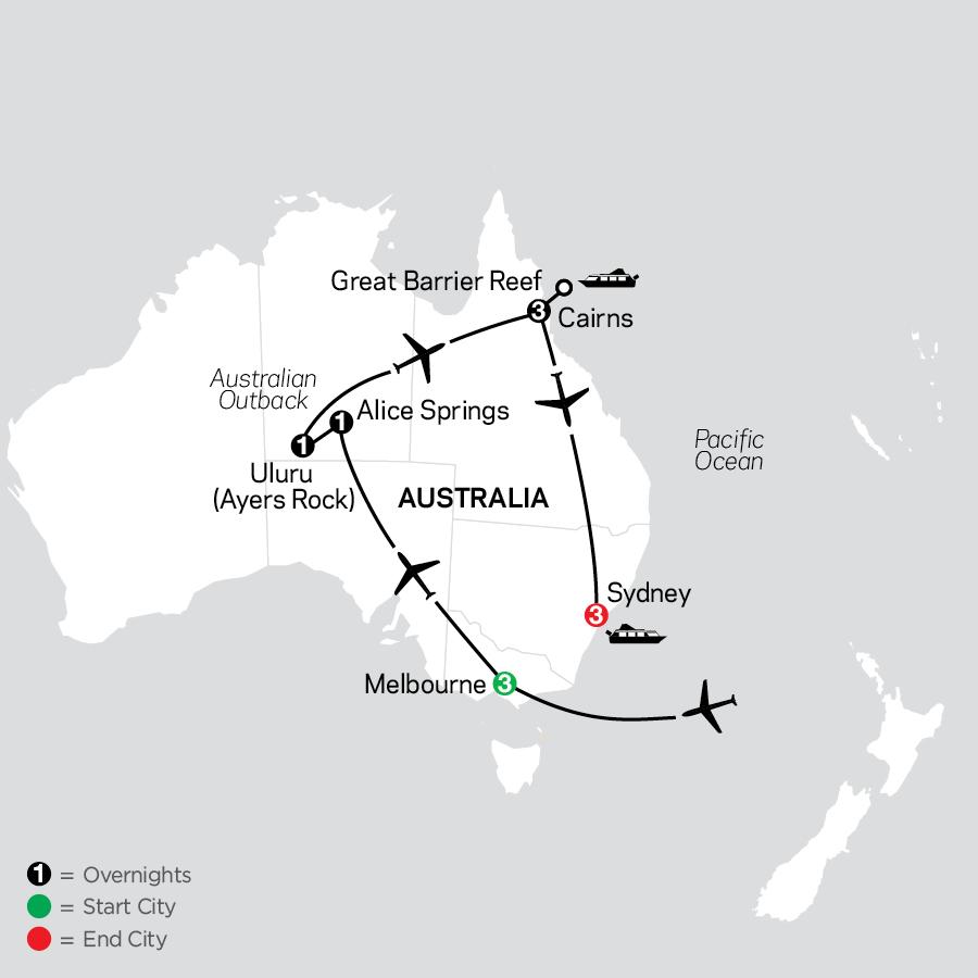 Highlights of Australia map