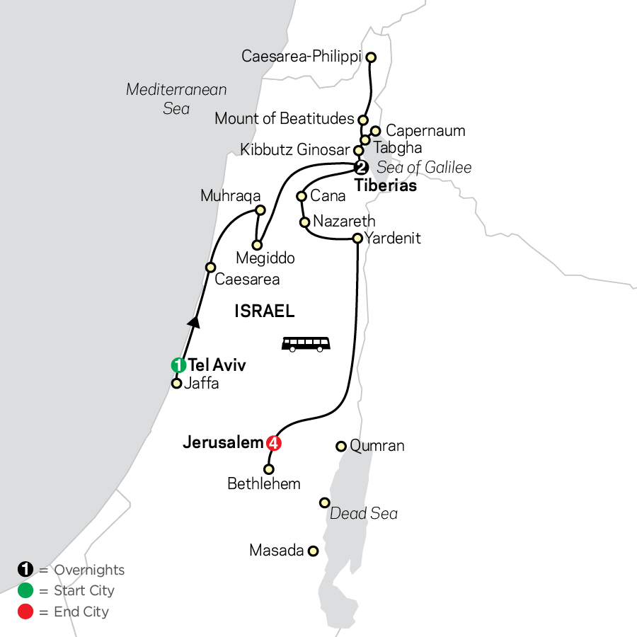 Biblical Israel - Faith-Based Travel - Protestant Itinerary map