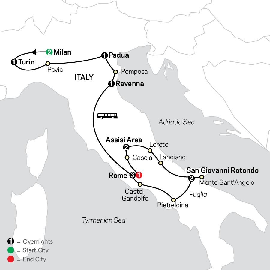 Shrines of Italy - Faith-Based Travel map