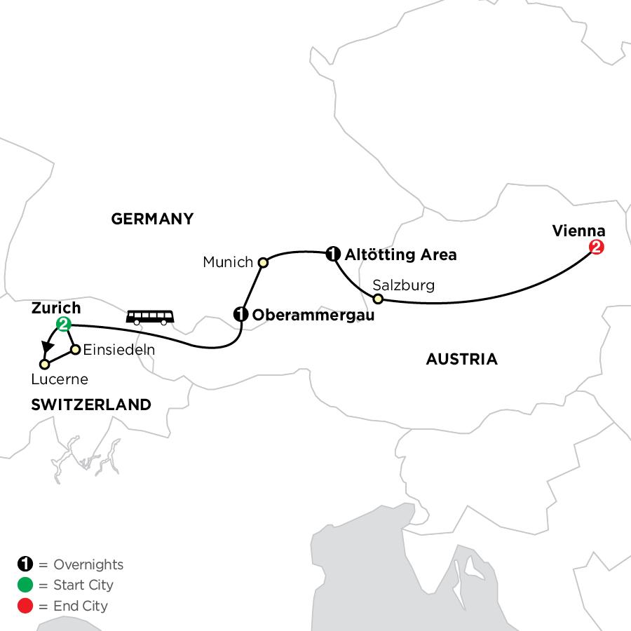 Shrines of Alpine Europe with Oberammergau - Faith-Based Travel map