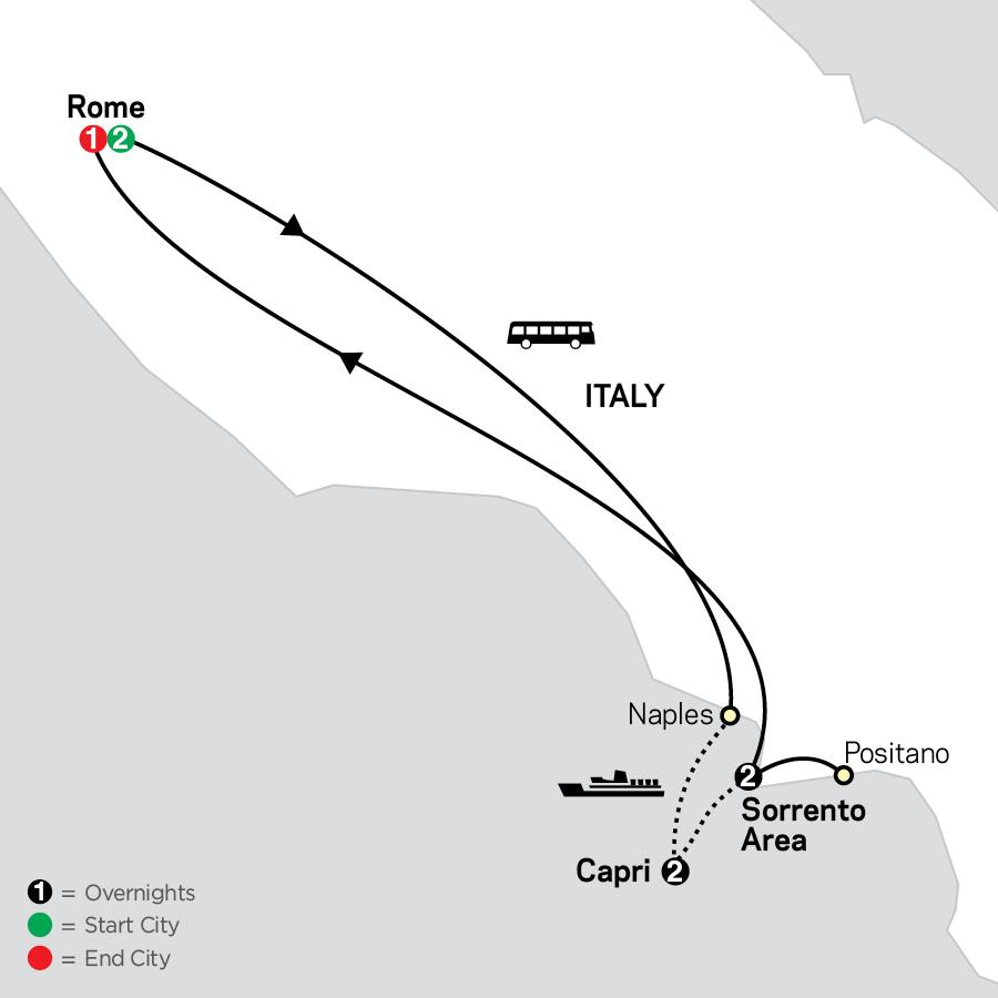 Gourmet Rome, Sorrento & Capri map