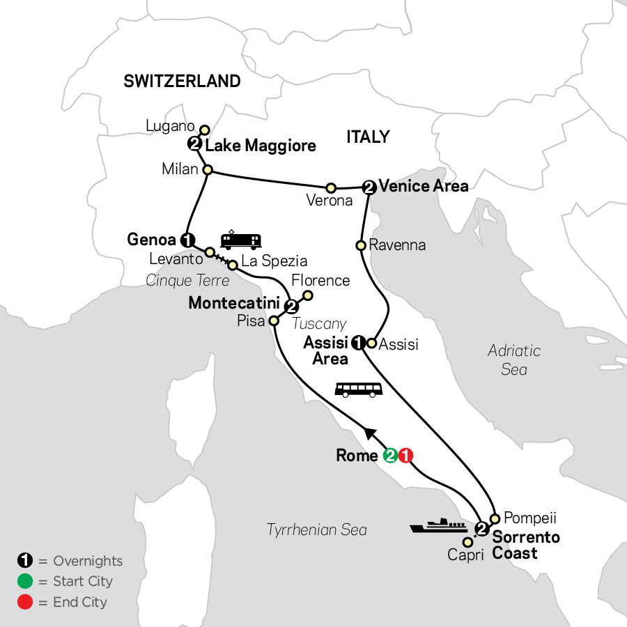 Italy's Best map