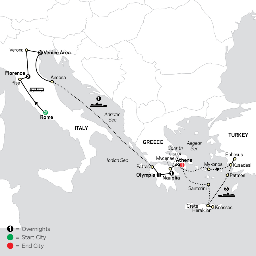 Italy & Greece with Iconic Aegean Islands Cruise map