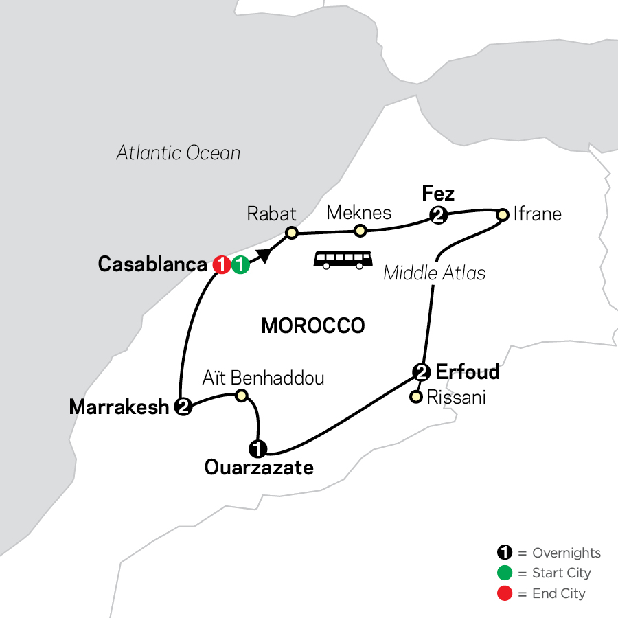 Highlights of Morocco map