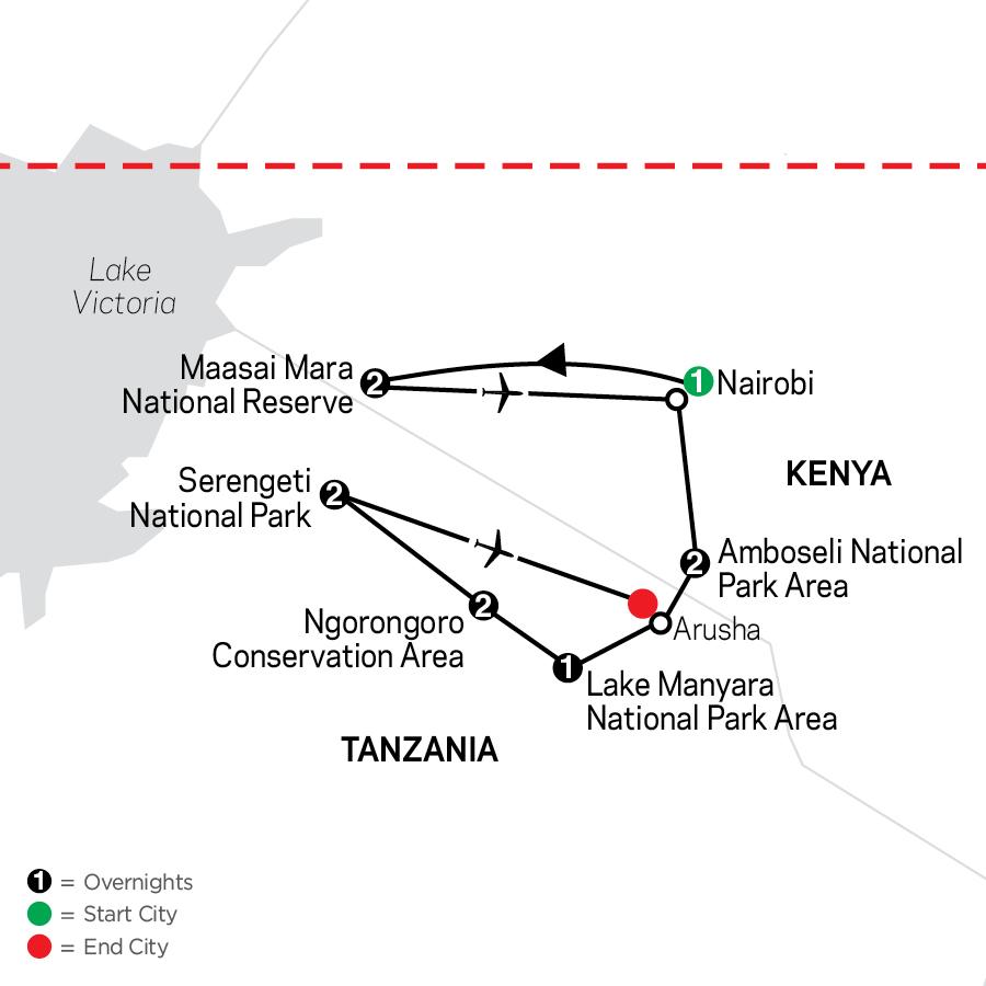 On Safari in Kenya & Tanzania map
