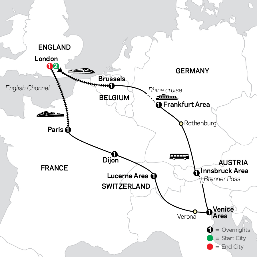 Seven Countries, Venice & Paris with London map