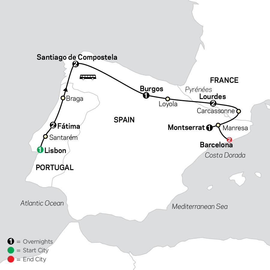 Fátima, Lourdes & Shrines of Spain - Faith-Based Travel map