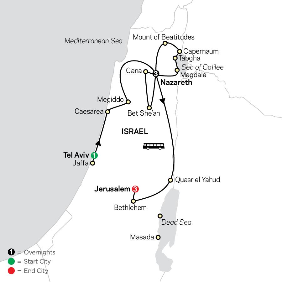 Holy Land Discovery - Faith-Based Travel - Catholic Itinerary map