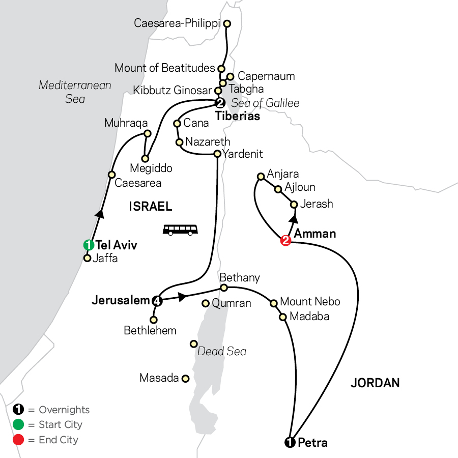 Biblical Israel with Jordan - Faith-Based Travel - Protestant Itinerary map