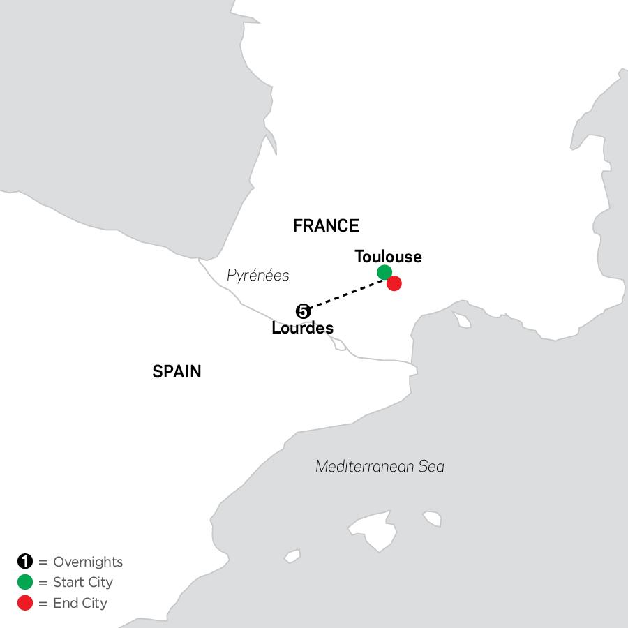 Pilgrimage to Lourdes - Faith-Based Travel map