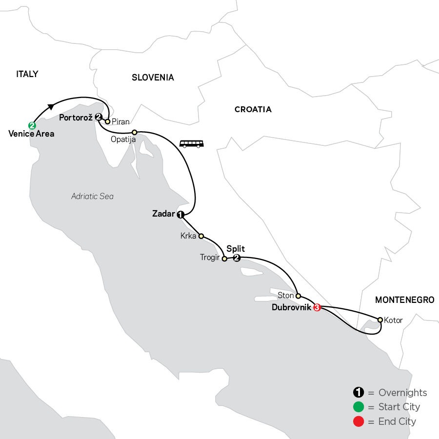 Venice, Slovenia, Croatia &  Montenegro map