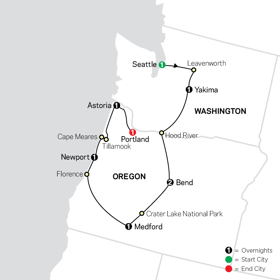 Exploring the Pacific Northwest map