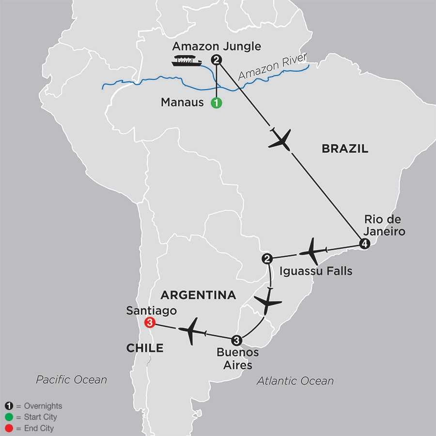 Brazil, Argentina & Chile Unveiled with Brazil's Amazon map