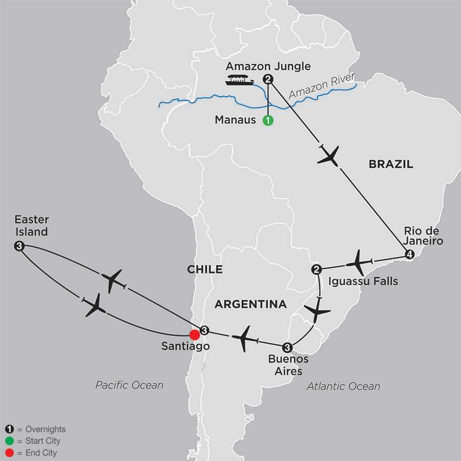 Brazil, Argentina & Chile Unveiled with Brazil's Amazon & Easter Island map