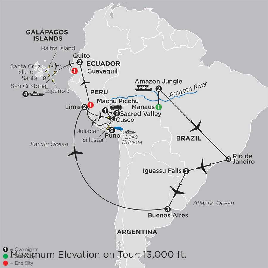 Ultimate South America with Brazil's Amazon & Galápagos Cruise map