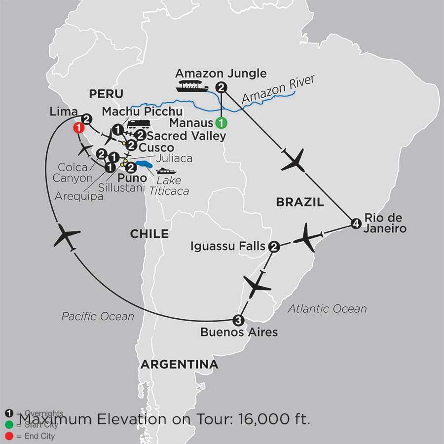 Ultimate South America with Brazil's Amazon & Arequipa & Colca Canyon map