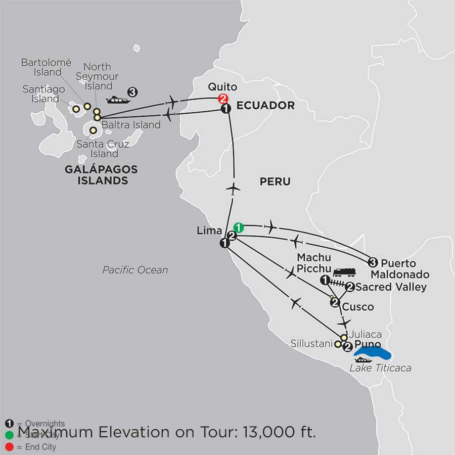 Mysteries of the Inca Empire with Peru's Amazon & Galápagos Cruise map