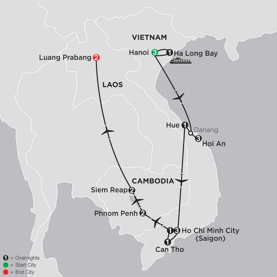Simply Vietnam with Cambodia and Luang Prabang map