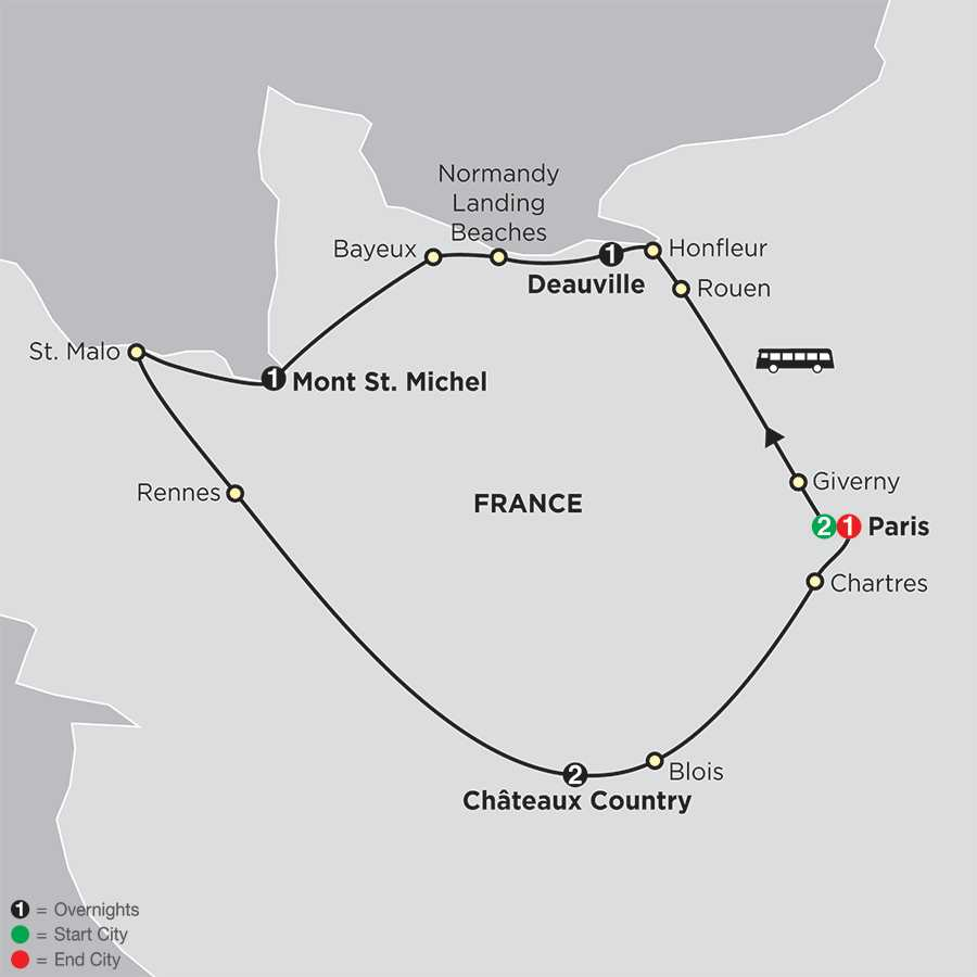 Paris, Normandy and the Loire map