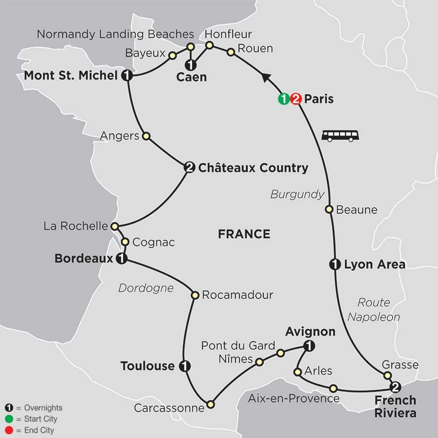 Grand Tour of France map