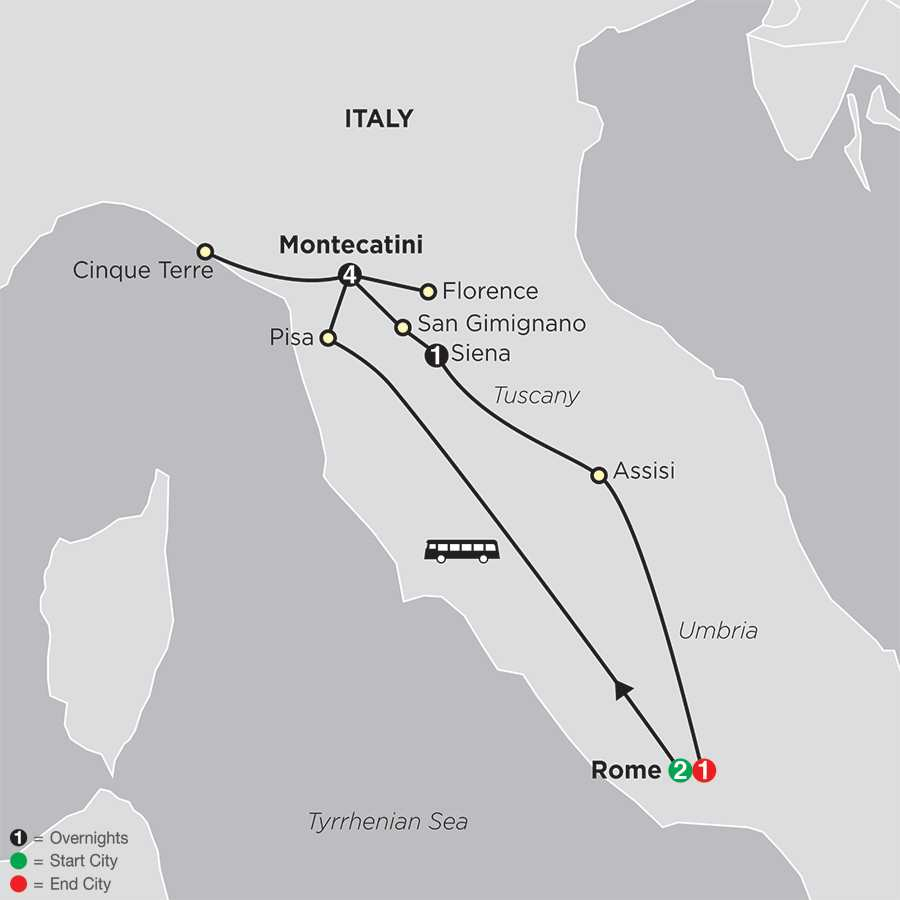 Tuscany, Rome & Cinque Terre map