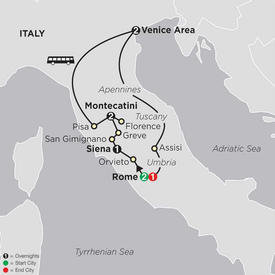 The Splendors of Italy map