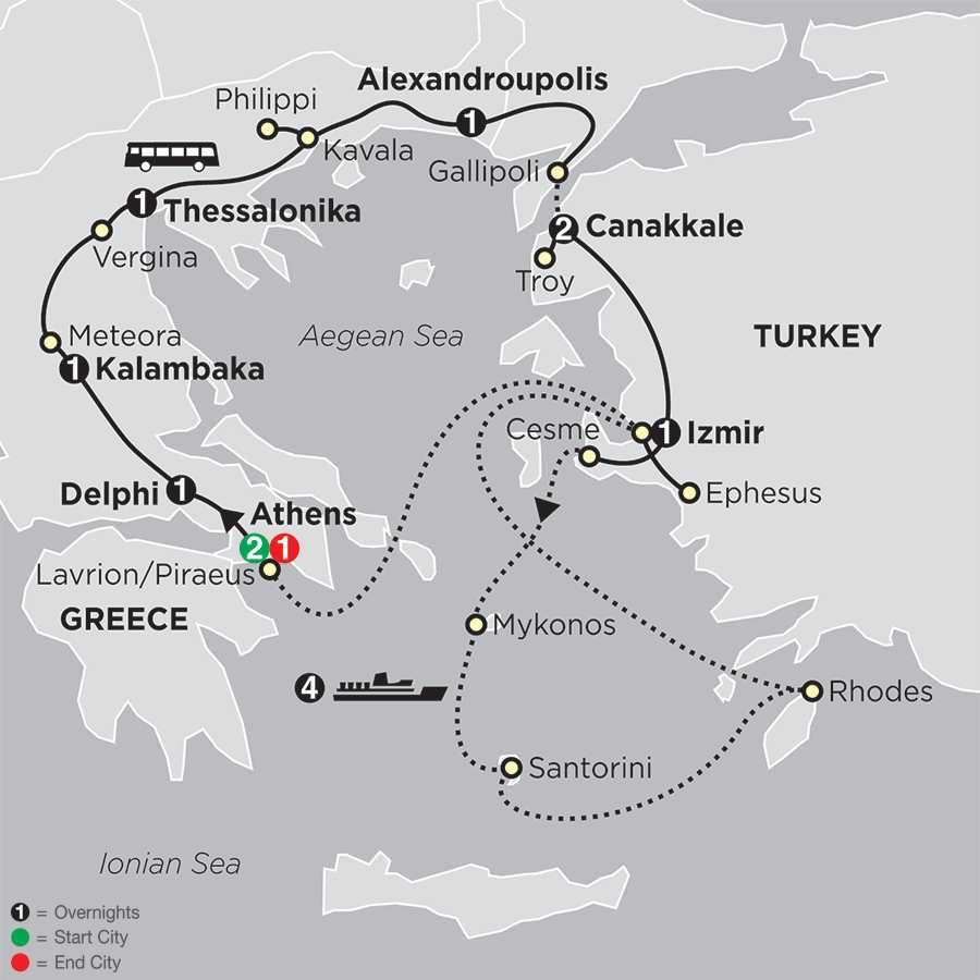Tour & Cruise in Greece & Turkey map