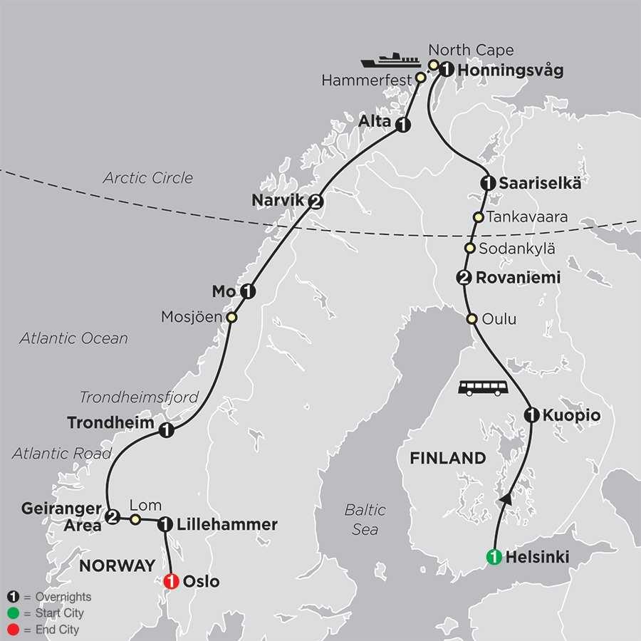 Northern Highlights & the Arctic Circle map