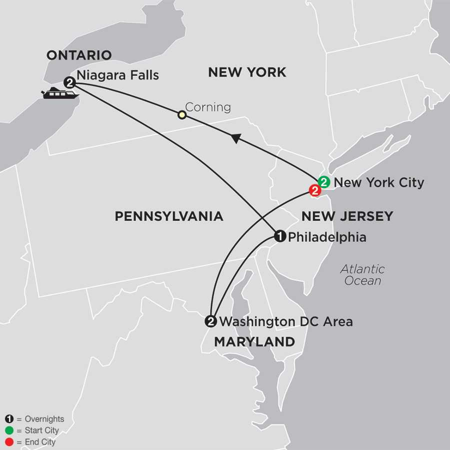 New York, Niagara Falls & Washington DC with Extended Stay in New York City map