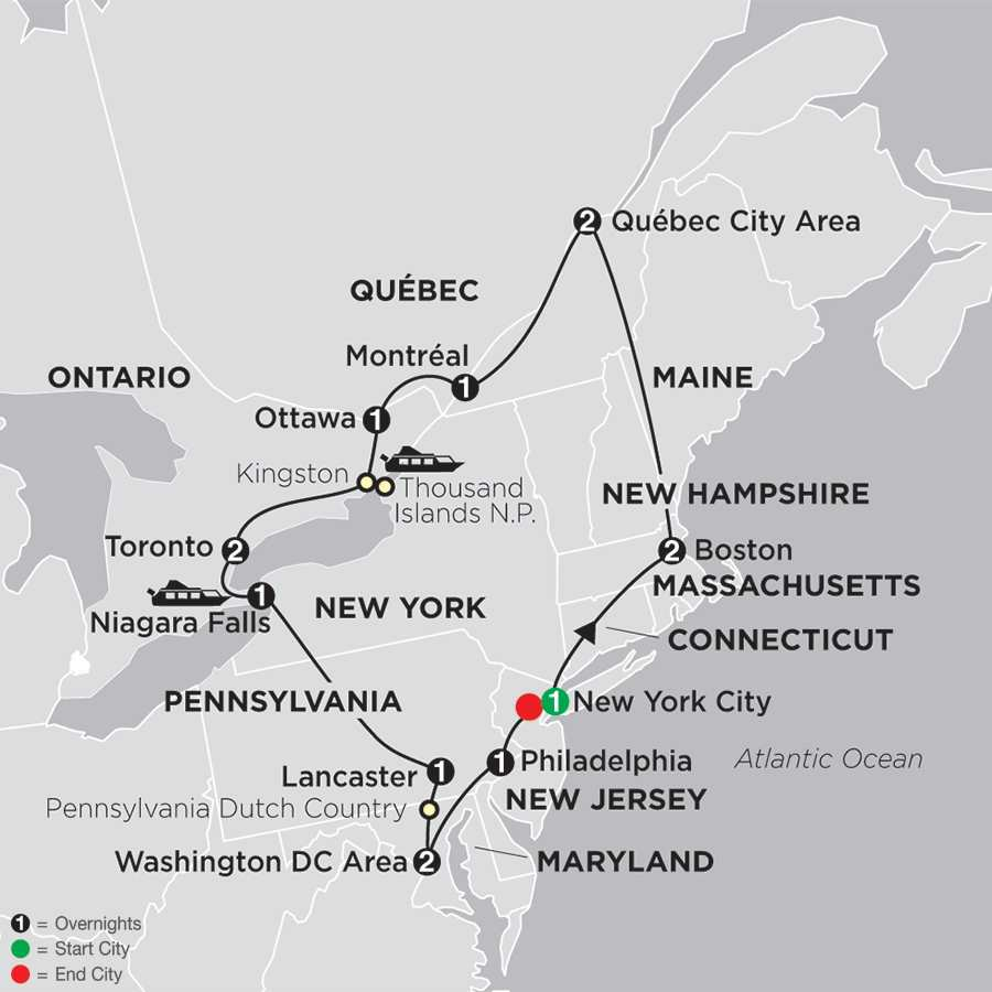 Eastern United States  Canada Vacation Cosmos Travel - Map of usa and canada east coast