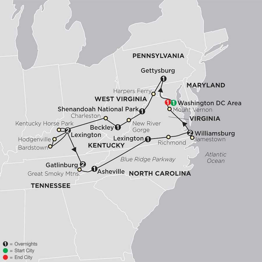Historic Trails & Blue Ridge Mountains map