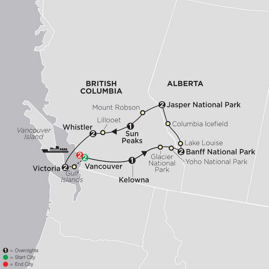 The Canadian Rockies with Extended Stay in Vancouver map