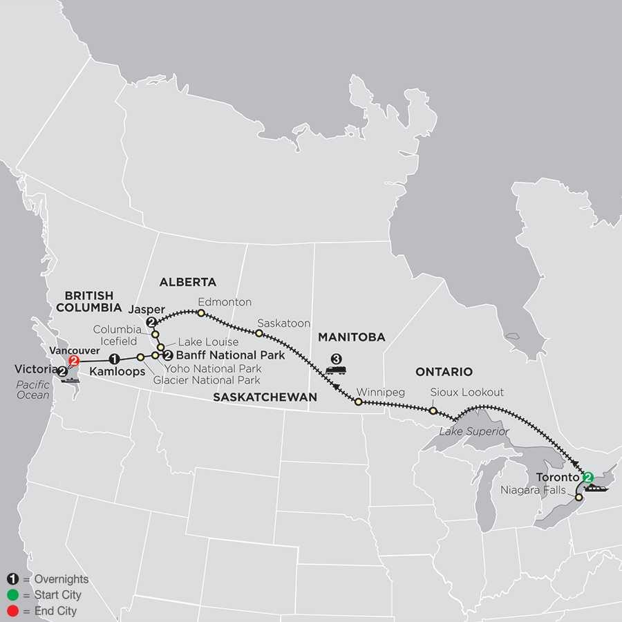 Canadian Train Odyssey map