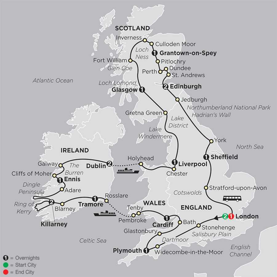 Grand Tour of Britain & Ireland map