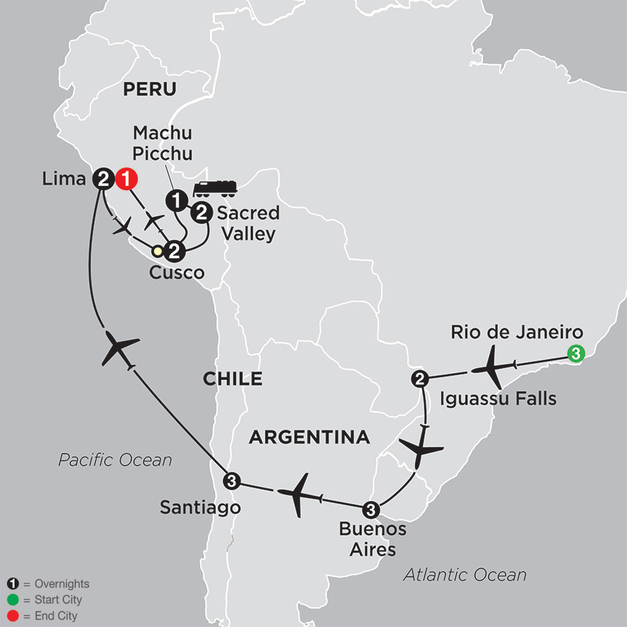 Tour To Peru Brazil Argentina Chile Cosmos Tours - Argentina map black and white