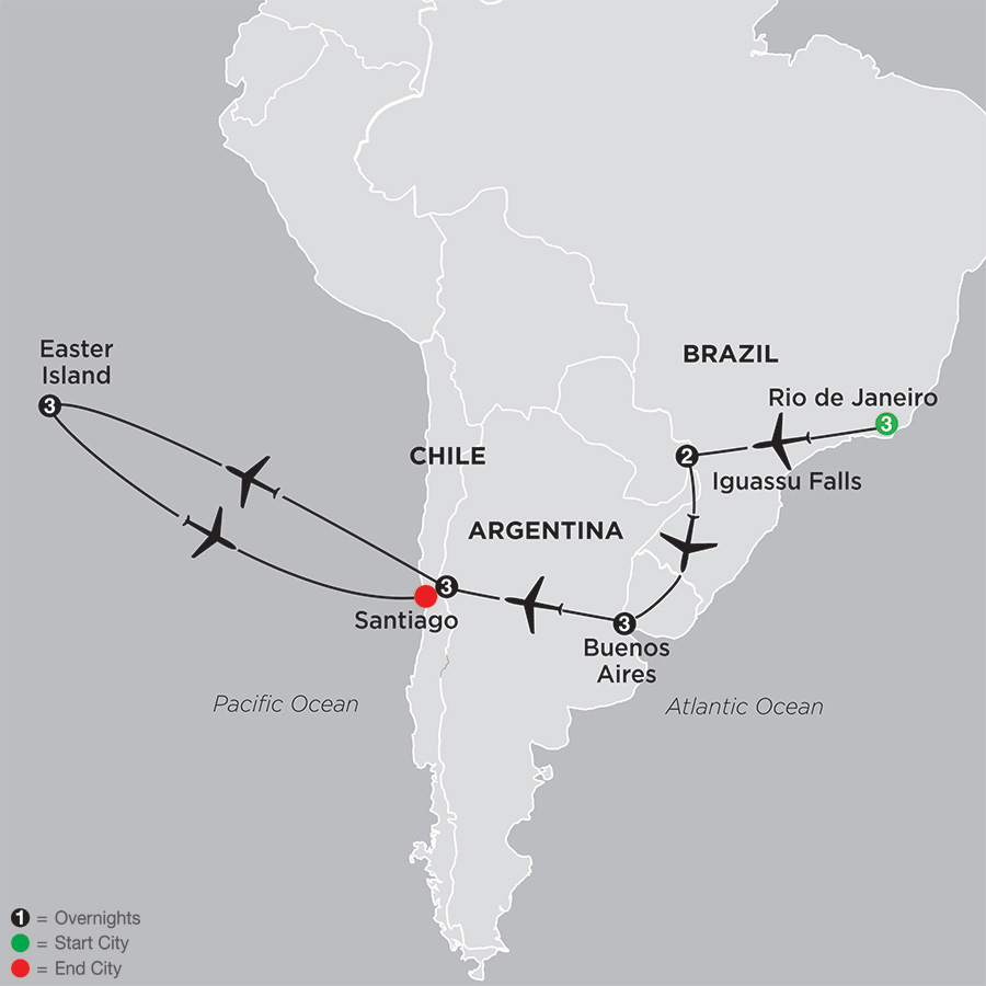 Brazil, Argentina & Chile Unveiled with Easter Island map
